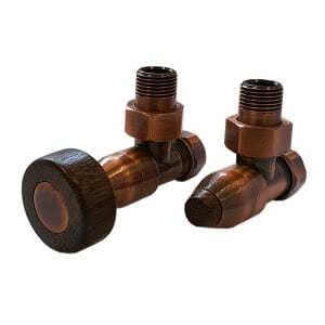 Комплект SCHLOSSER PRESTIGE, угловой античная медь, для стальных труб GW M22х1,5 х GW 1/2 (круглая деревянная рукоятка), арт. 604500039