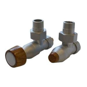 Комплект SCHLOSSER PRESTIGE, угловой сатин, для пластиковых труб GW M22х1,5 х 16х2 (круглая деревянная рукоятка), арт. 604500020