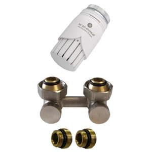 Комплект SCHLOSSER узел нижнего подключения угловой, никелированный G 3/4 x 3/4 D=50 мм с термоголовкой M30x1,5 + 2 Ниппеля 1/2x3/4, 600800017