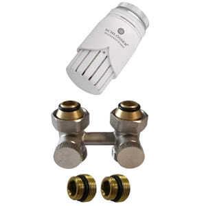Комплект SCHLOSSER узел нижнего подключения проходной, никелированный G 3/4 x 3/4 D=50 мм с термоголовкой M30x1,5 + 2 Ниппеля 1/2x3/4, 600800018