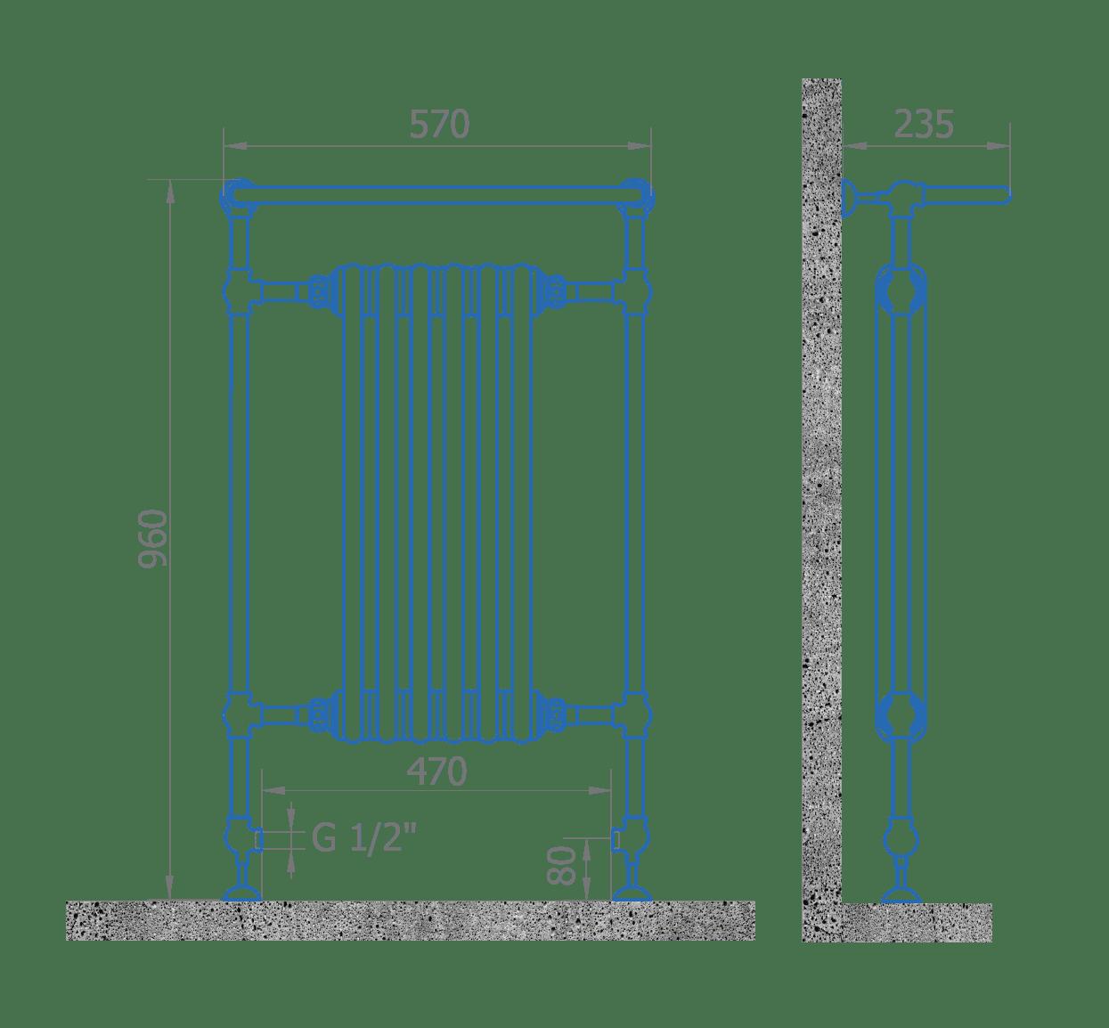 Чертеж полотенцесушителя Florentina 960/570