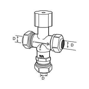 Tour & Andersson Термостатический смесительный клапан TA-MIX, M28*1,5, с компресс. фитингами 22 мм, 35-65 С, PN10, AMETAL, 52730022