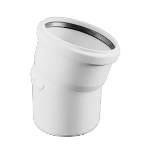 Отвод REHAU RAUPIANO PLUS диам. 50 на 15°,c резиновым сальником для канализационных труб, арт. 121094-001