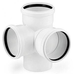 Крестовина двухплоскостная REHAU RAUPIANO PLUS 110/110/110/87°, для канализационных труб, арт. 121564-002 (11215641003)
