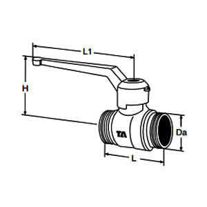 Tour & Andersson Шаровый кран TA500, с рычагом, DN15, для пайки М26*1,5, L=55 мм, PN25, AMETAL, 58517015