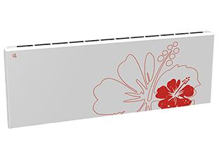 Дизайн-радиатор Lully коллекция Лилии  1120/450/115 (цвет красный) в стену с термостатикой
