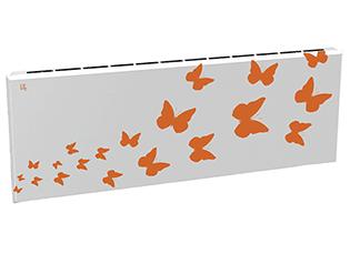 Дизайн-радиатор Lully коллекция Бабочки 1120/450/115 (цвет оранжевый) подключение в стену