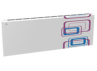 Дизайн-радиатор Lully коллекция Геометрия 1120/450/115 (цвет фиолетово-голубой) подключение в стену