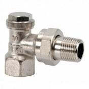 Запорный вентиль на обратку Oventrop Combi 3, угловой никелированный латунь Ду15 (1/2), артикул 1090362