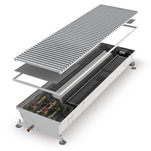 Конвектор встраиваемый в пол с вентилятором MINIB COIL-HC4pipe-1000 (без решетки)