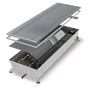 Конвектор встраиваемый в пол с вентилятором MINIB COIL-HCM4pipe-2000 (без решетки)