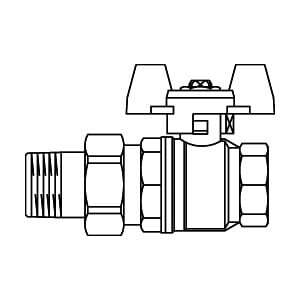 """Шаровой кран Oventrop Optibal с бабочкой, с американкой, 1/2"""", артикул 1075804"""