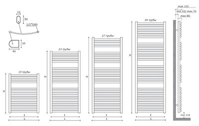 """Технические характеристики и цены полотенцесушители CALEIDO \""""MARABÙ\"""""""
