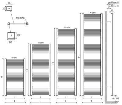 """Технические характеристики и цены полотенцесушители CALEIDO \\\\\\\\""""TOWER20\\\\\\\\"""""""