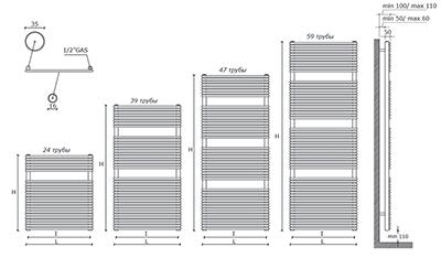 """Технические характеристики и цены полотенцесушители CALEIDO \""""COLIBRì SINGLE\"""""""
