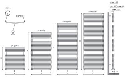 """Технические характеристики и цены полотенцесушители CALEIDO \""""GRIFONE\"""""""