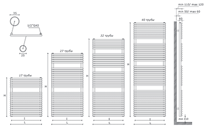 "Технические характеристики и цены полотенцесушители CALEIDO \""GABBIANO SINGLE\"""