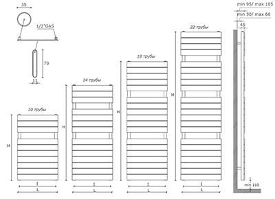 """Технические характеристики и цены полотенцесушители CALEIDO \""""GUFO\"""""""