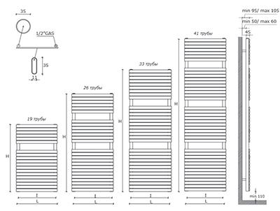 """Технические характеристики и цены полотенцесушители CALEIDO \""""CIGNO\"""""""