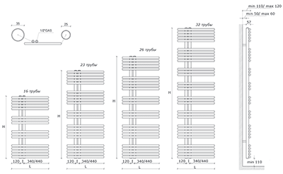 """Технические характеристики и цены полотенцесушители CALEIDO \""""PAVONE SINGLE\"""""""