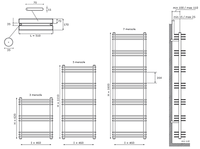 """Технические характеристики и цены полотенцесушители CALEIDO \""""SHELF70\"""""""