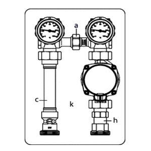 """Система обвязки котла Oventrop """"Regumat S-130"""" с насосом Grundfos """"ALPHA 2"""", Ду25, Арт. 1355073"""