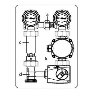 """Система обвязки котла укороченная Oventrop """"Regumat M3-130У. размер, без насоса, Ду25, Арт. 1355271"""