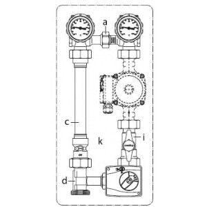 """Система обвязки котла Oventrop """"Regumat M3-180"""" Ду 25 1"""" без насоса, Арт. 1356270"""